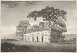 'The small golden mosque at Gour'.  Aquatint, drawn and engraved by James Moffat after Henry Creighton. Published Calcutta.  Undated.